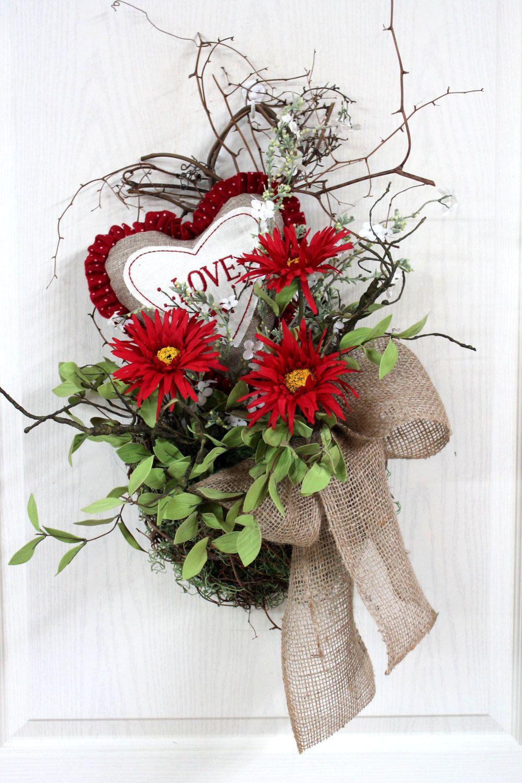 Country Valentine Front Door Basket Front Door Wreath