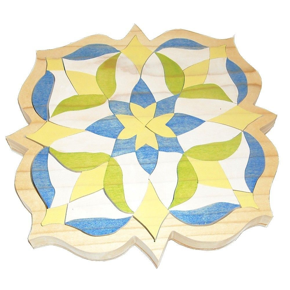 beautiful puzzles    Mosaic Puzzle - Wooden Waldorf Toy -  Blue Flower. $40.00, via Etsy.
