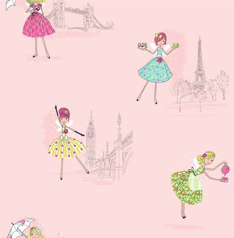 Fine Decor Vintage Fairies Hoopla Wallpaper In Pink