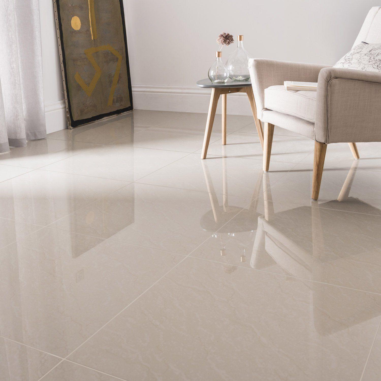 Carrelage sol et mur beige effet marbre Maderas l.9 x L.9 cm
