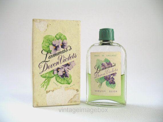 LAMMAS'S Devon Violets Vintage mini perfume bottle, boxed, retro souvenir scent, by VintageImageBox