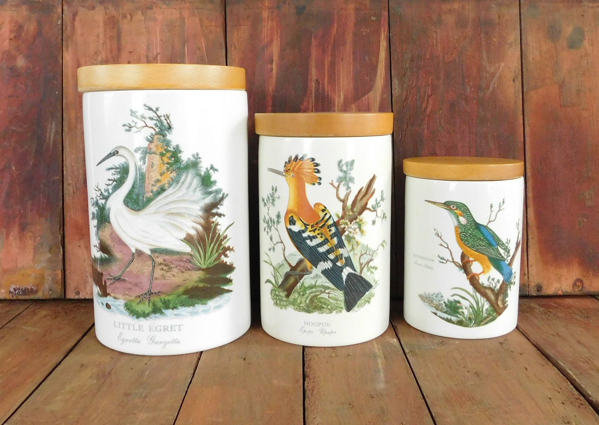 Vintage Portmeirion Birds Of Britain Canister Set, Kitchen Storage Canisters,