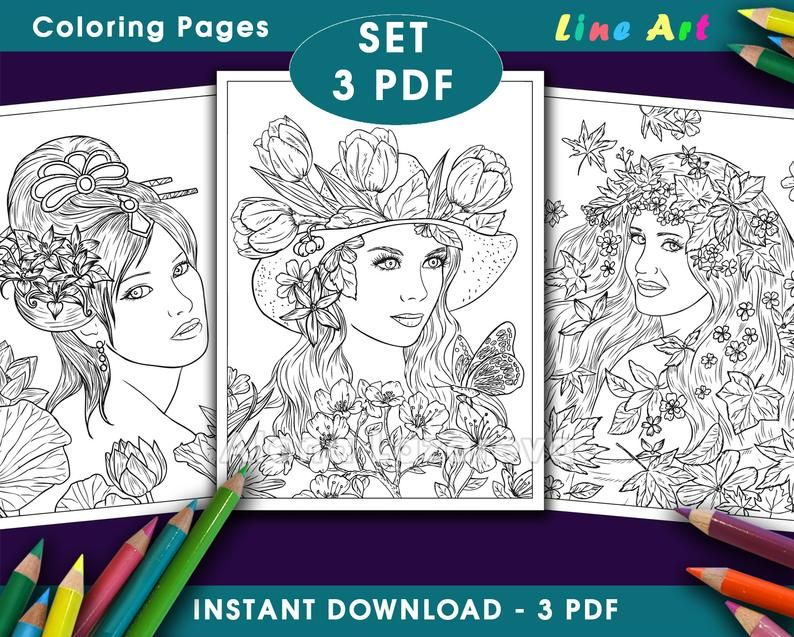 Coloring Pages Set 3 Pdf From Book 100 Line Art Part2 Etsy In 2020 Coloring Pages Grayscale Coloring Books Coloring Books