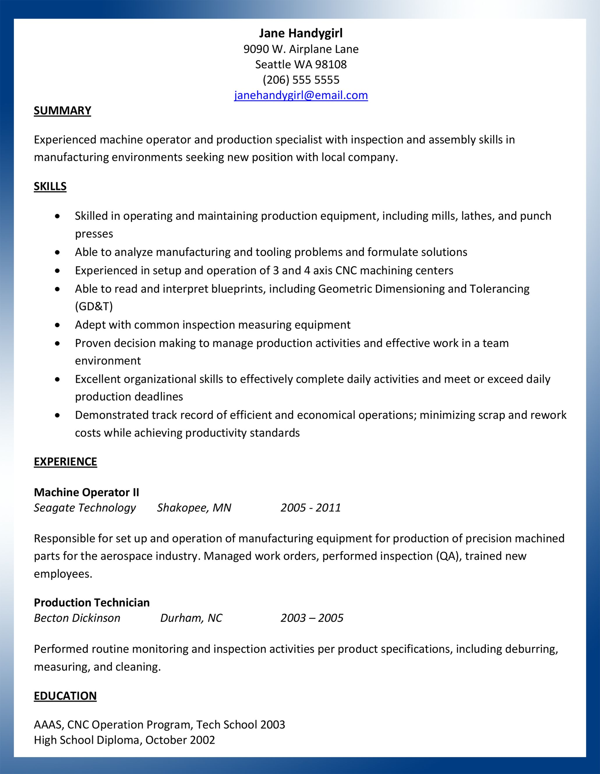 sample machinist resume ajac word document