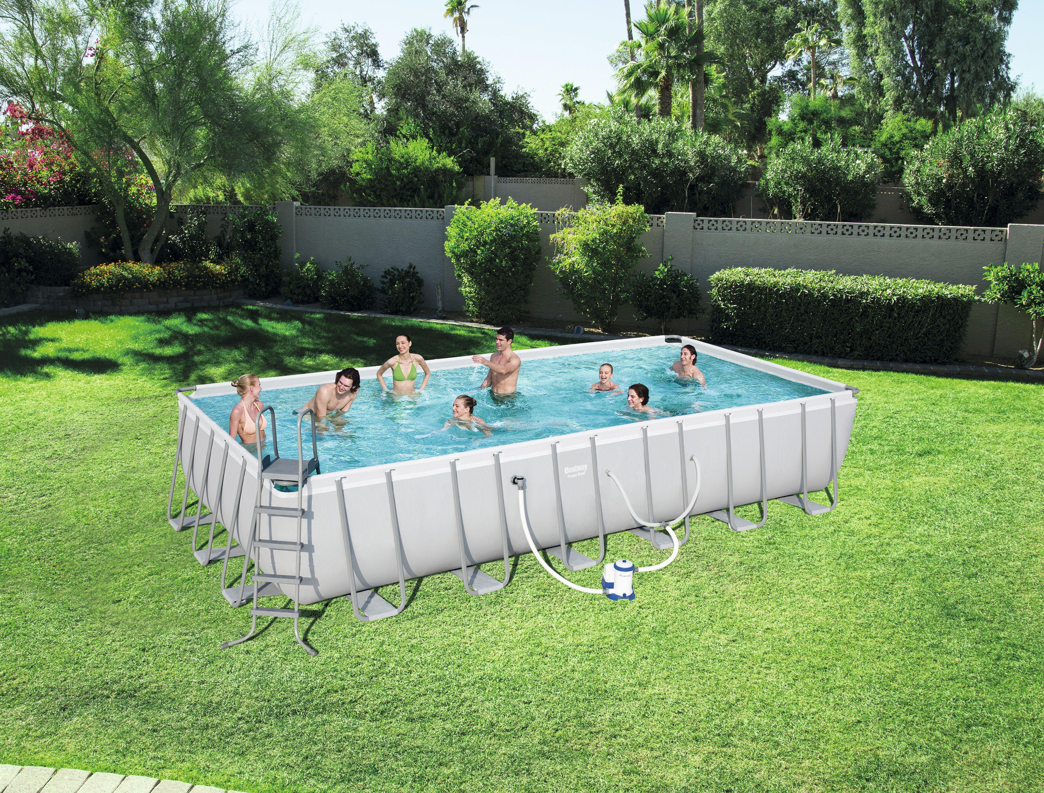 Bestway Power Steel 24 X 12 X 52 Rectangular Frame Swimming Pool Set Walmart Com In 2020 Rectangular Pool Pool Rectangle Pool