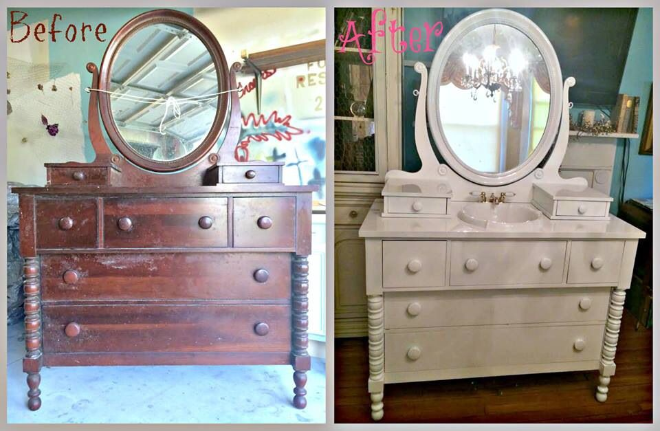 Dresser Turned Bathroom Vanity Painted Furniture Furniture Repurposing White Furniture