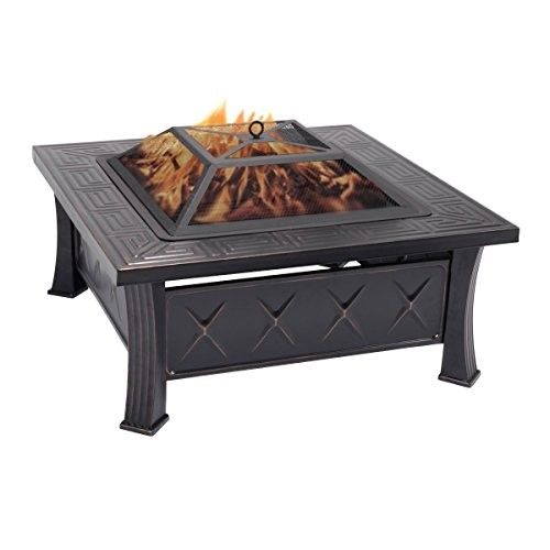 Costway 32 Square Metal Firepit Patio Garden Stove Fire Pit Outdoor Brazier With Poker Fire Pit Patio Fire Pit Outdoor Fire Pit