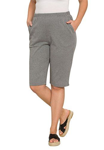 a5fe0658ce6 Women s Casual Shorts - Roamans Womens Plus Size Soft Knit Bermuda Shorts      Read more at the image link. (This is an Amazon affiliate link)
