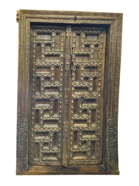 Wood Carving Furniture Indian Double Doors with Ornate Antique