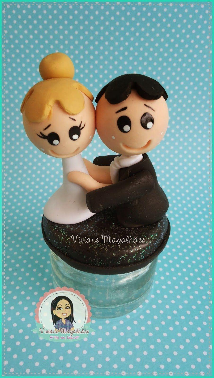 Crie e Faça Você Mesmo : Lembrancinha de casamento feita em biscuit colados.
