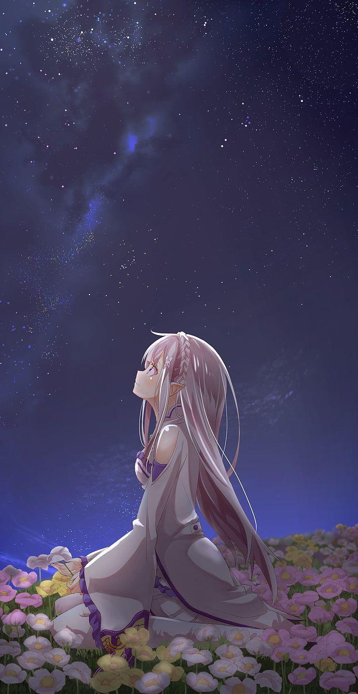 HD wallpaper: gray haired female anime character, Emilia (Re: Zero), landscape