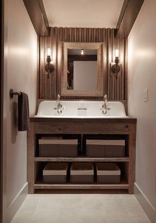 Cabin Kidsu0027 Bathroom Features Dark Wood Beams Over An Accent Wall Clad In  Galvanized Metal