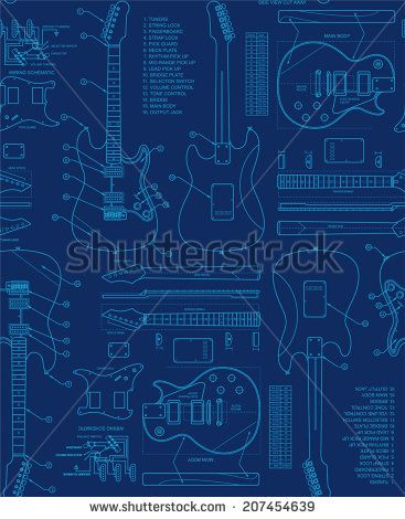Guitar blueprint seamless pattern designspatternsprints guitar blueprint seamless pattern malvernweather Images