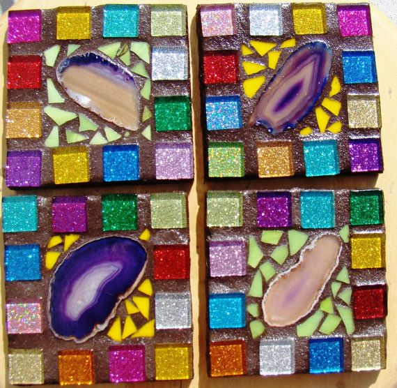 Rainbow Mosaic COASTERS Agate Rich colors by gardengoddessmosaics, $49.00 --  Amazing colors!!