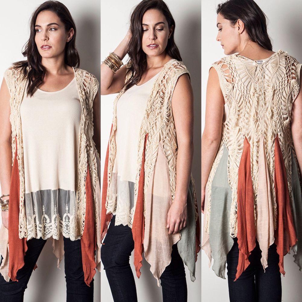 c6c0dea91c4 New UMGEE Long Scarf Drape Crochet Knit Sleeveless Sweater Vest Top Plus  Size  Umgee  PlusSize  Southern  Long  Boho  Hippie  Vest  SweaterKnit  Open  ...