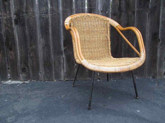 60s Vintage Wicker Chair MCM rustic bamboo armchair steel legs