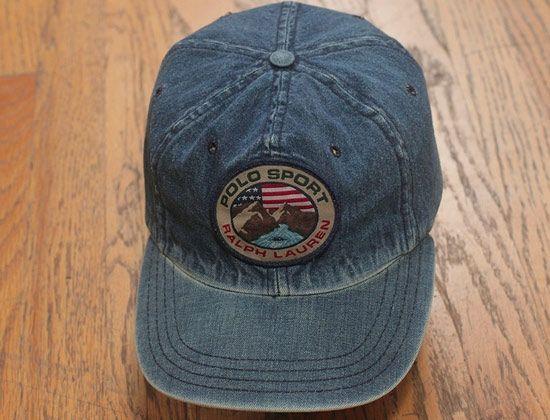 Vintage Ralph Lauren POLO SPORT Denim Fitted Baseball Cap  7e433677679