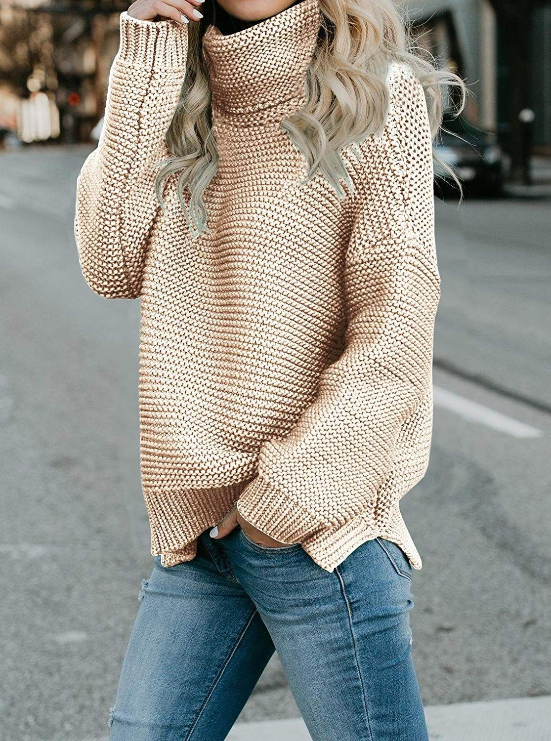 6b3033b017a1 EastLife Womens Oversized Sweaters Turtleneck Casual Long Sleeve ...