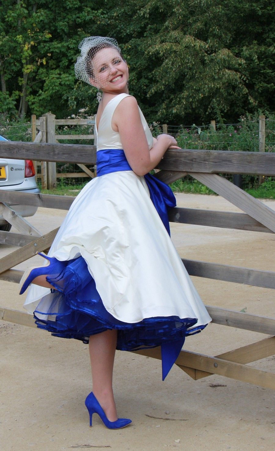 Blue crinoline under a wedding dress our colors are sapphire blue