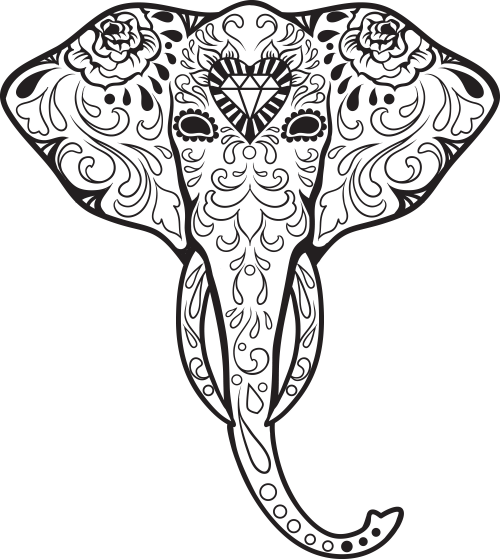 sugar skull advanced coloring 3 - Sugar Skull Tattoo Coloring Pages