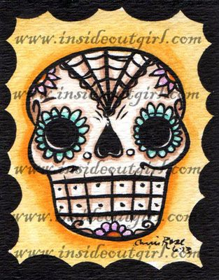 """ATC """"Mini Sugar Skull #1""""  6/29/2013  Acrylic paint & ink on 2.5x3.5"""" watercolor paper.  ©2013 Carrie Rose. insideoutgirl.com  SOLD"""