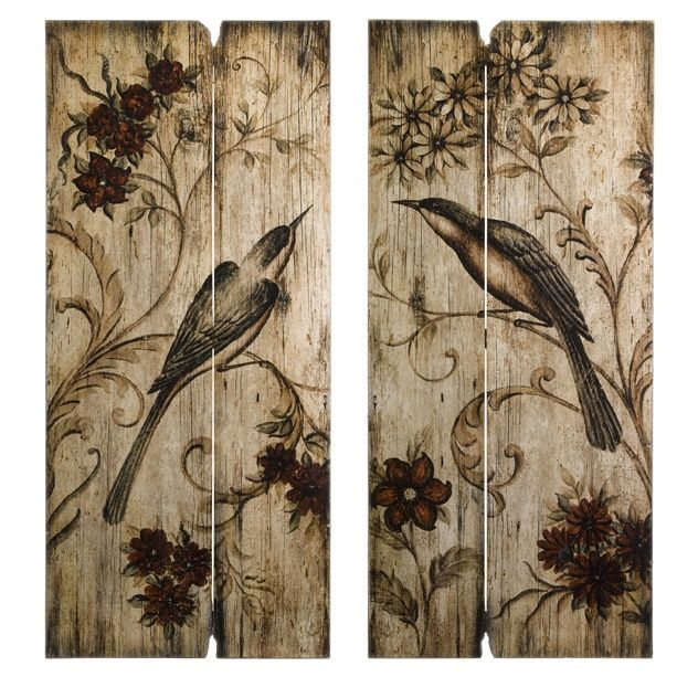 French Country Wall Art S 2 Bird Fl Wood Panel