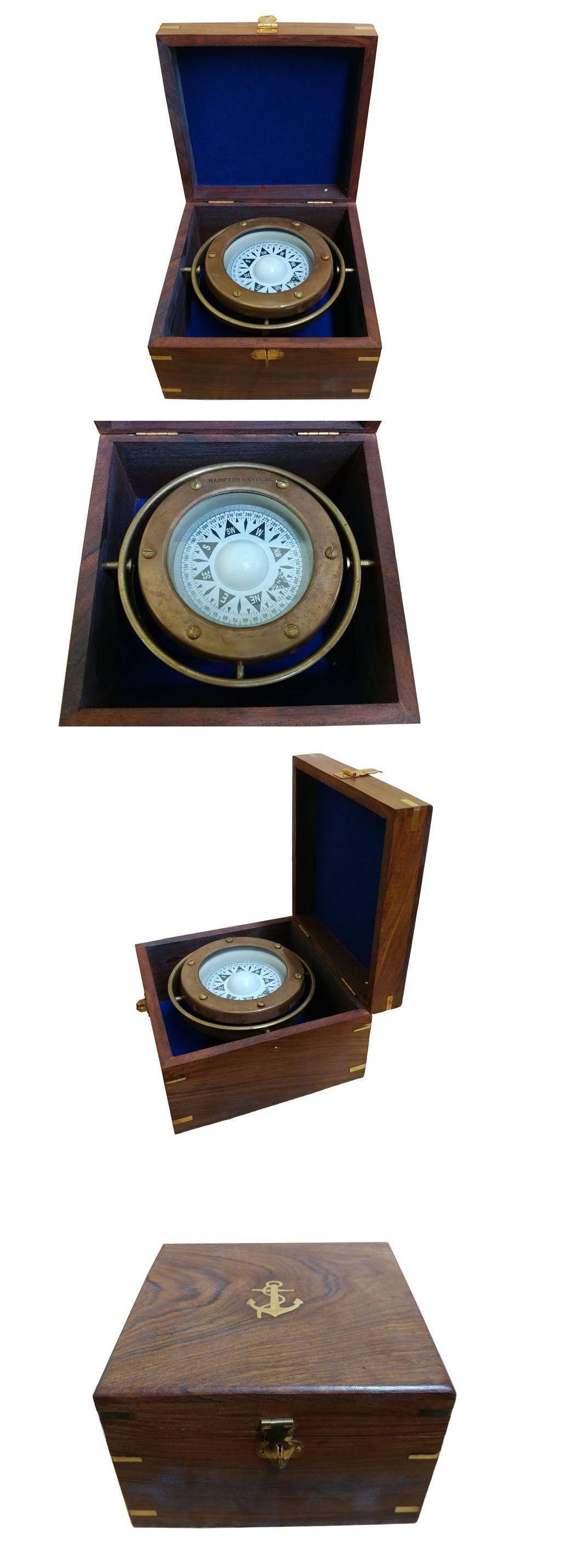 "Brass Compass /& Sundial on 6.13/"" Teak Wood Base Decorative Nautical Decor New"