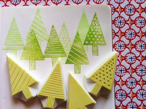 Zeder ntree Stempel | Weihnachtsbaum-Briefmarken | Wald handgeschnitzte Briefmarken für diy Weihnachten, Winter Handwerk, Kartenherstellung, Blockdruck #stampshandmade