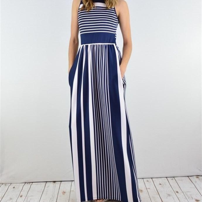 Jane.com - Eloges Stripe Sleeveless Maxi Dress / Side Pocket - AdoreWe.com
