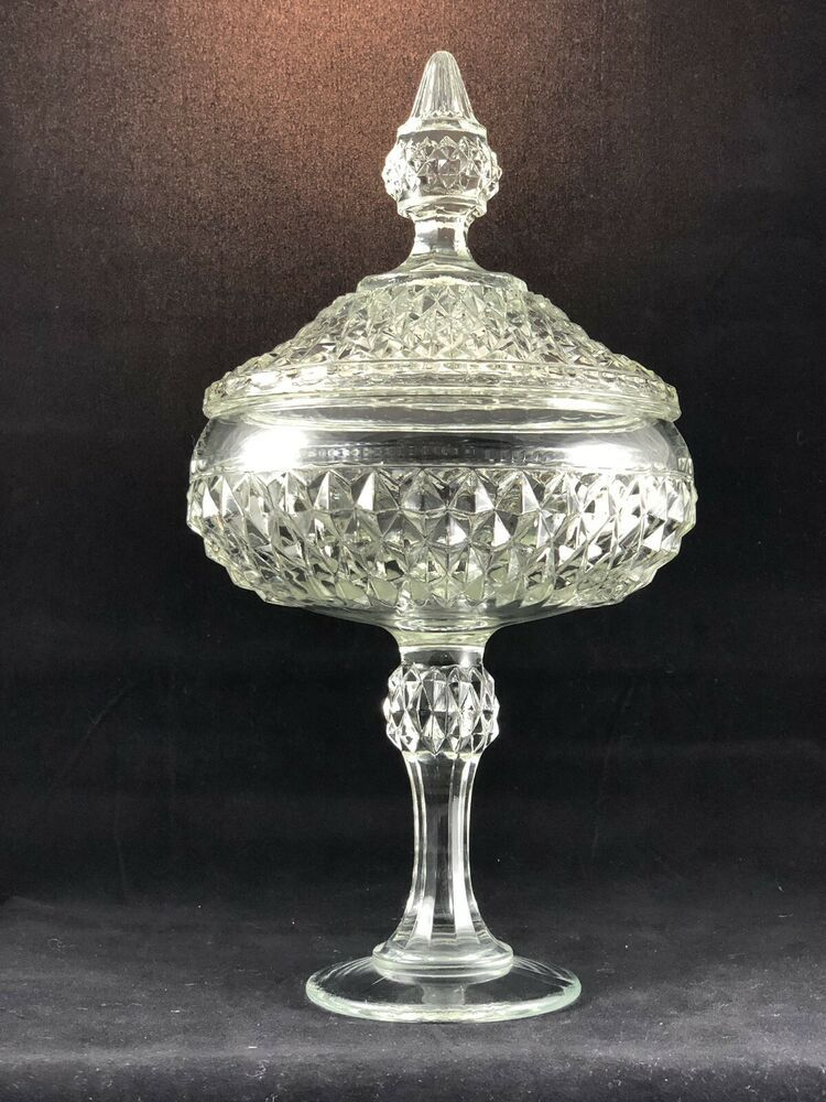 Home Living Bowls Vintage Clear Glass, Clear Glass Pedestal Candy Dish With Lid