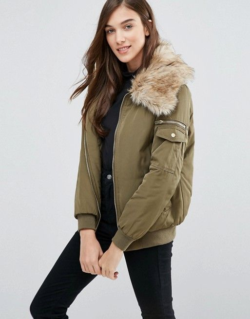 a2b5672a6 New Look Padded Bomber With Faux Fur Collar | Furs ideas | Faux fur ...