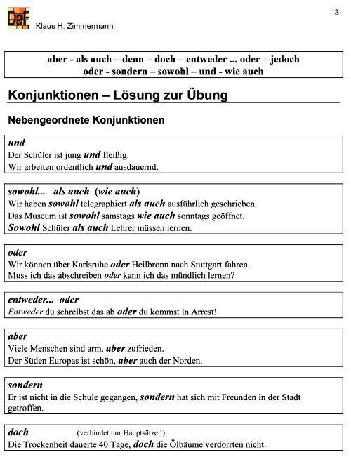 deutsch als fremdsprache daf daz grammatik konjunktionen german learn deutsch learn. Black Bedroom Furniture Sets. Home Design Ideas