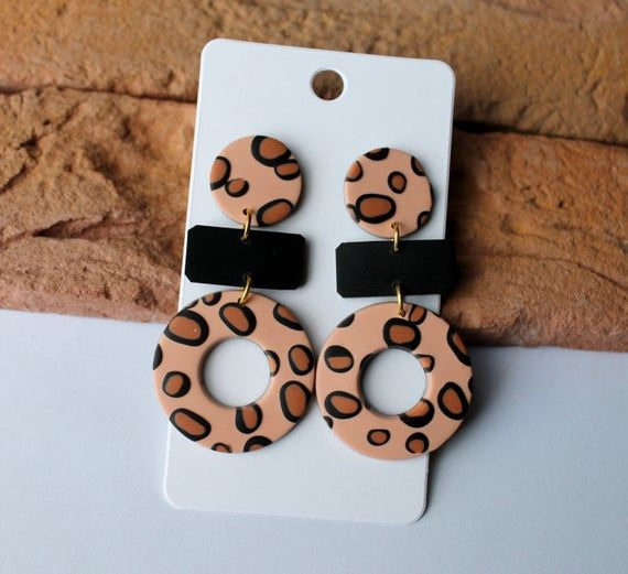 Hand-made Low Price Brand New Contemporary Earrings in Beige and Brown Unique