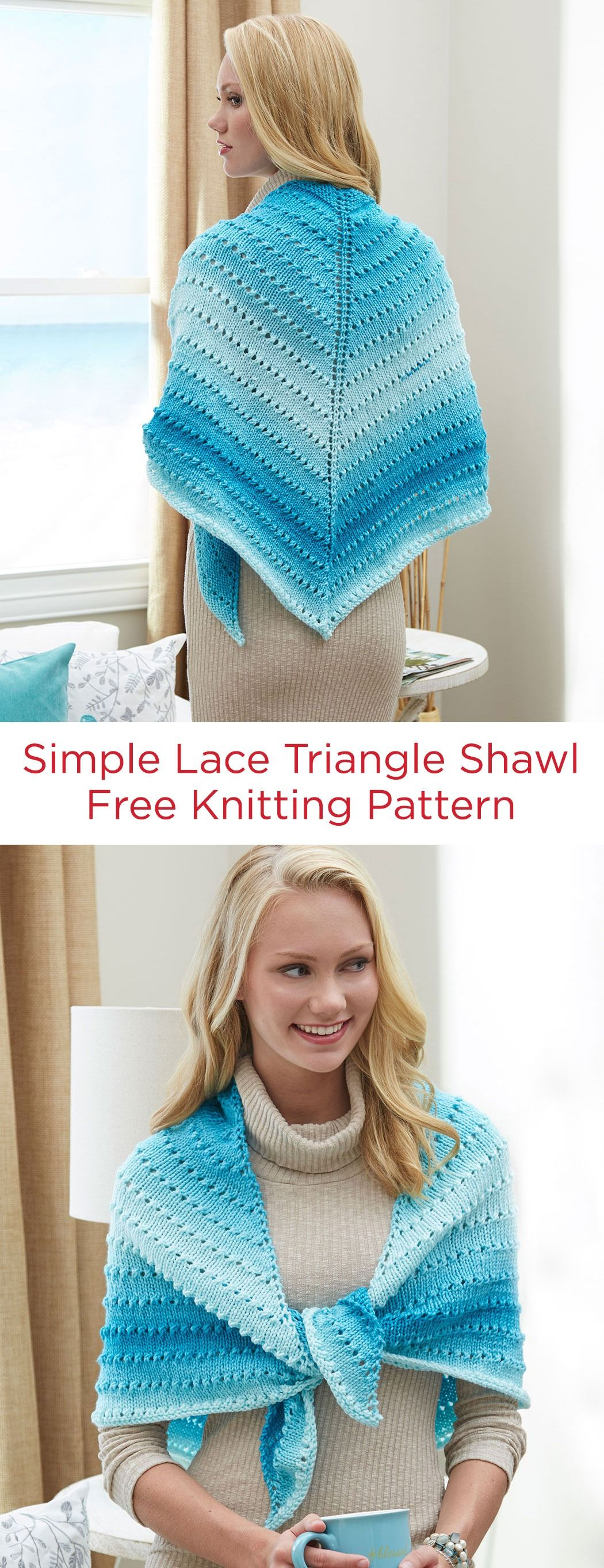 Simple Lace Triangle Shawl Free Knitting Pattern in Red ...