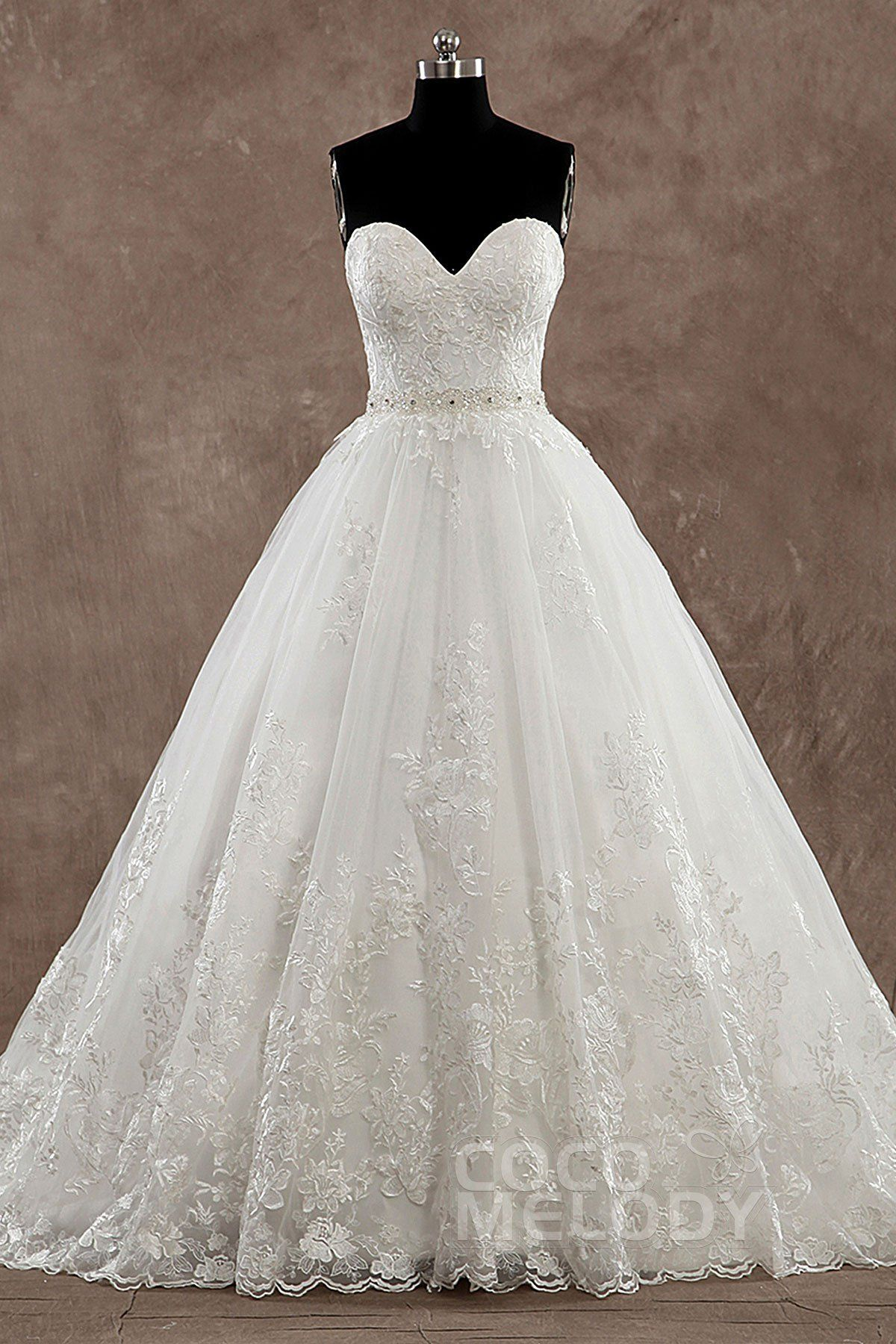 Pretty+A-line+Sweetheart+Natural+Train+Tulle+Ivory+Sleeveless+Wedding+Dress+with+Appliques+LD3483