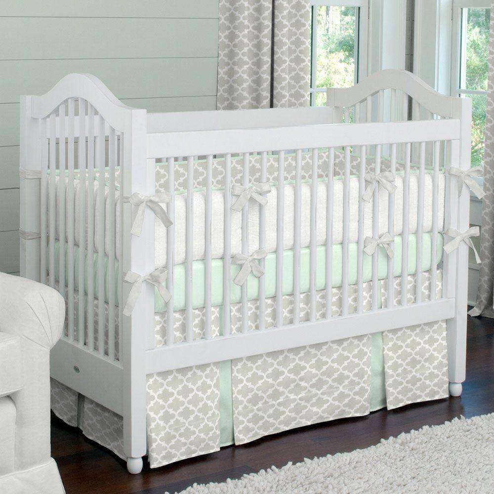 French Gray And Mint Quatrefoil Crib Bedding Cribs Crib Dust Ruffles Crib Bedding