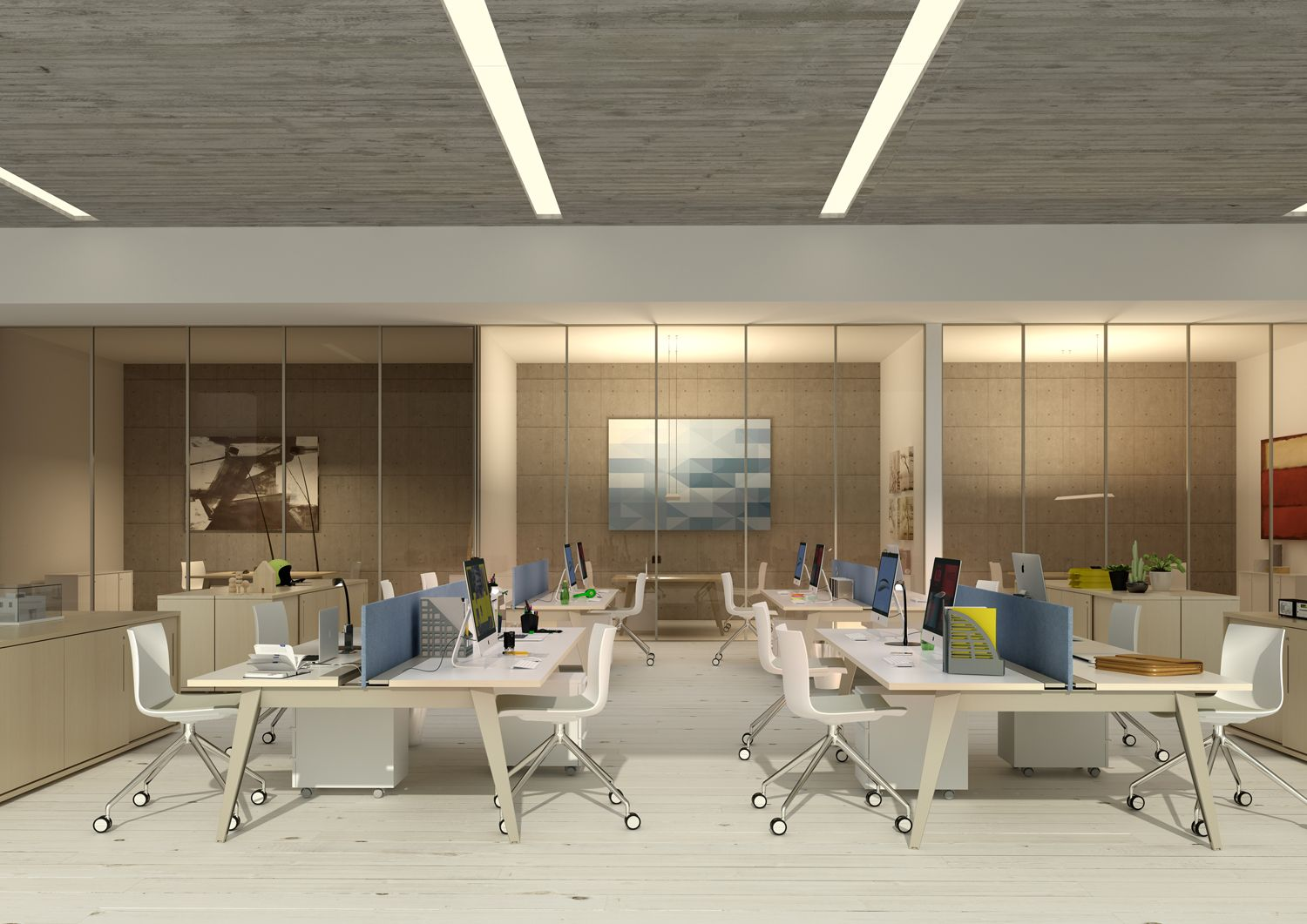 Office furniture render Corporate office design, Office
