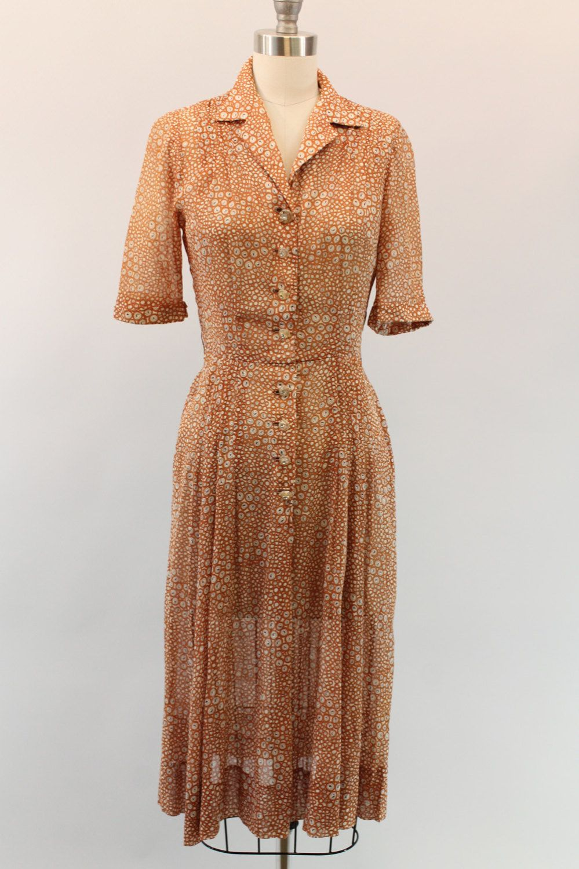 1940s Cotton Dress XS  /  40s Print Dress /  Tea by CrushVintage, $114.00