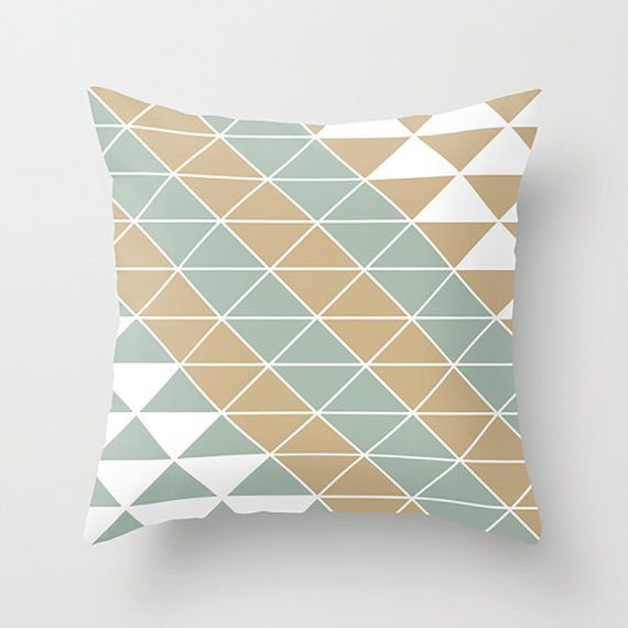 Triangle Place Apartments: Origami Geometric/Triangle Pillow Cover Sand By