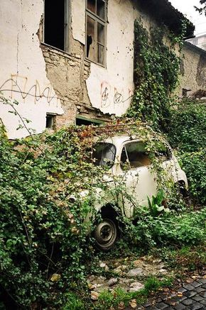 :::: PINTEREST.COM christiancross :::: Abandoned house and car, Ohrid Macedonia, Eastern Europe #overgrownaesthetic