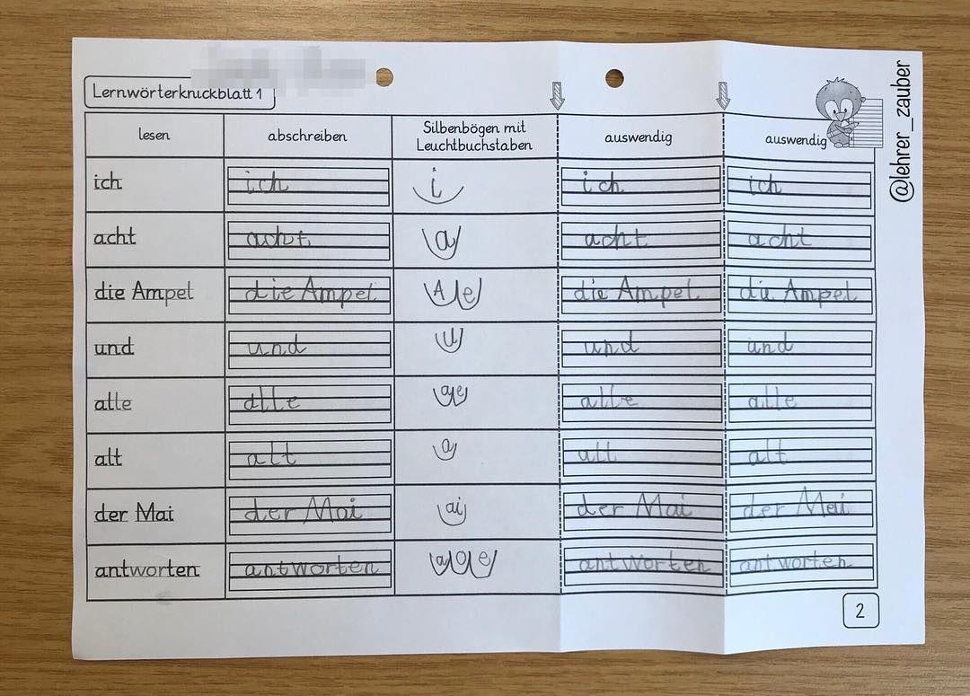 Lernwörter-Arbeit 🤓 heute habe ich ein Knickblatt bei meinen ...