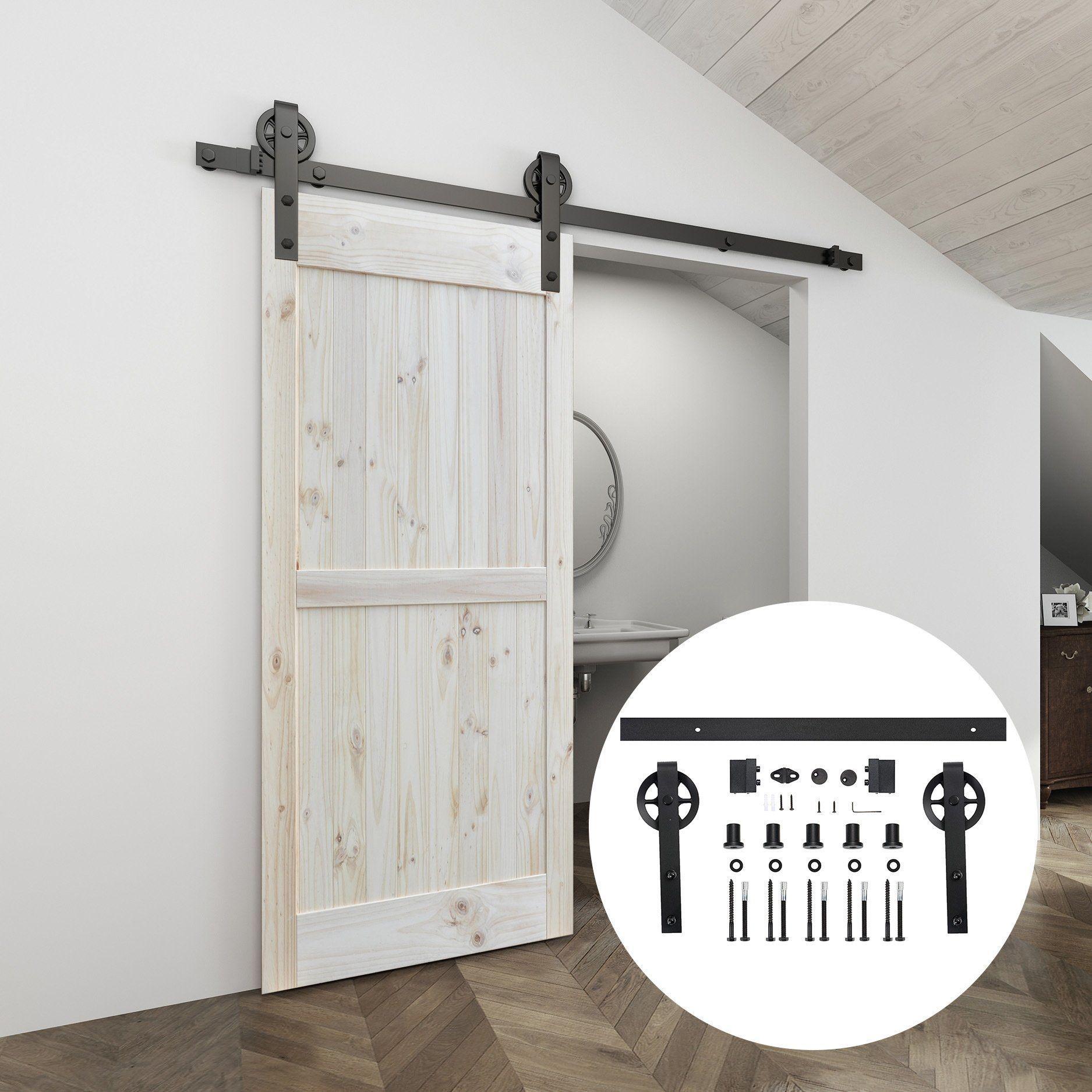 4.9FT/6FT/6.6FT/8FT Carbon Steel Sliding Barn Door Hardware Kit, Heavy Duty Hanger Roller Interior Sliding Barn Door Hardware for Single Wood Door Easy to Install - 183cm(6ft) kit