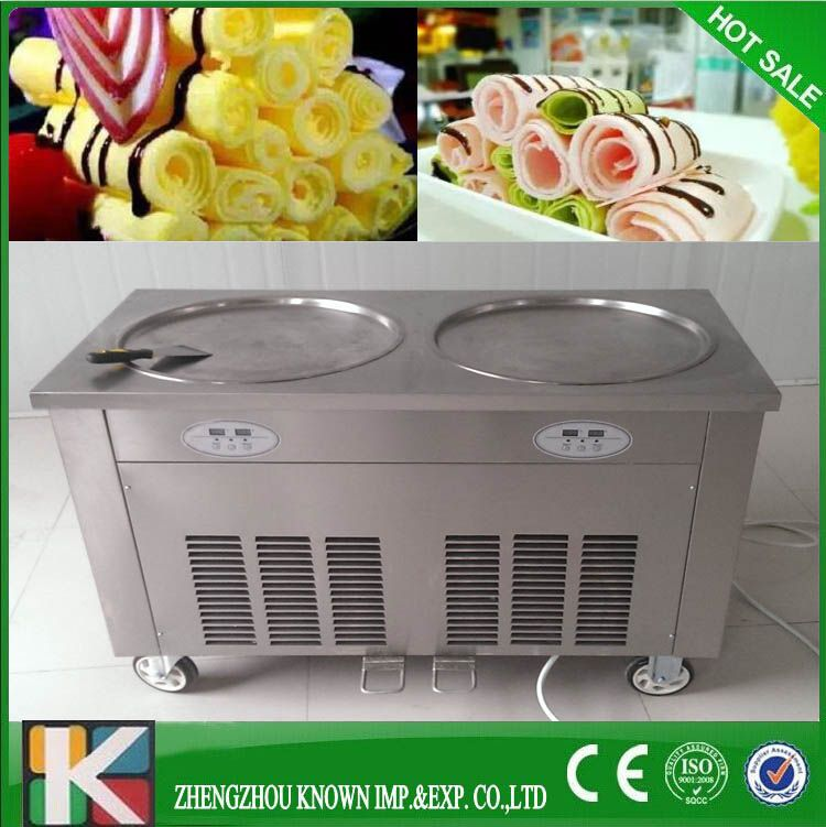 Ce Double Ice Cream Cold Plate Fried Ice Cream Machine Double Pan