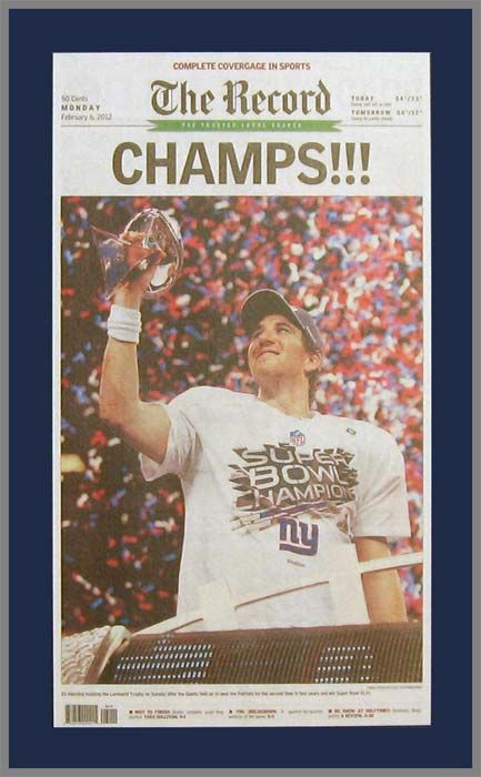 5b23bce52 New York Giants Wood Mounted Poster Print - Record - Champs - Super Bowl 46  XLVI