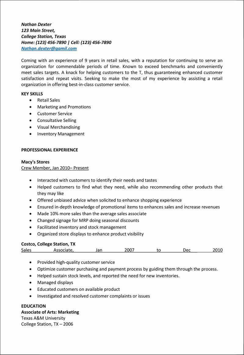 Retail Sales associate Resume Example Lovely Retail Sales