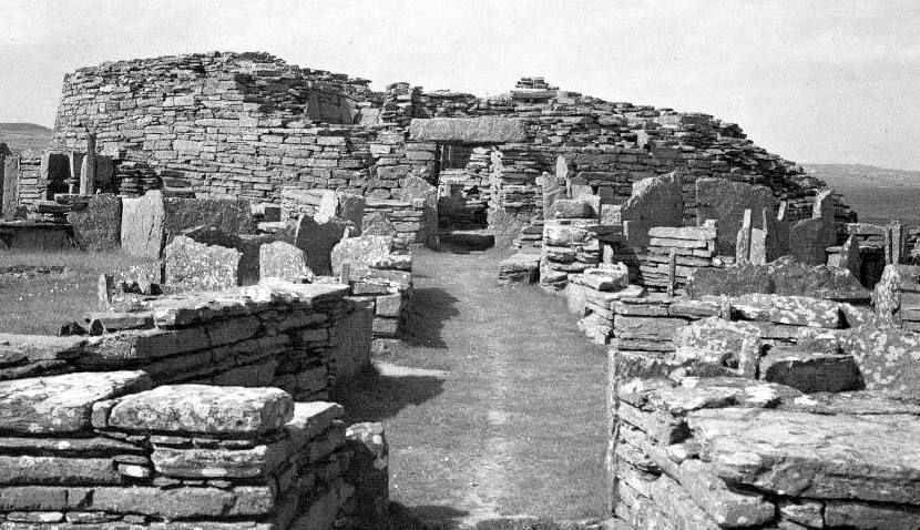 Old photograph of Broch of Gurness, Orkney, Scotland