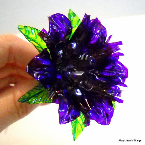 upcycled purple fantasy flower made of plastic water