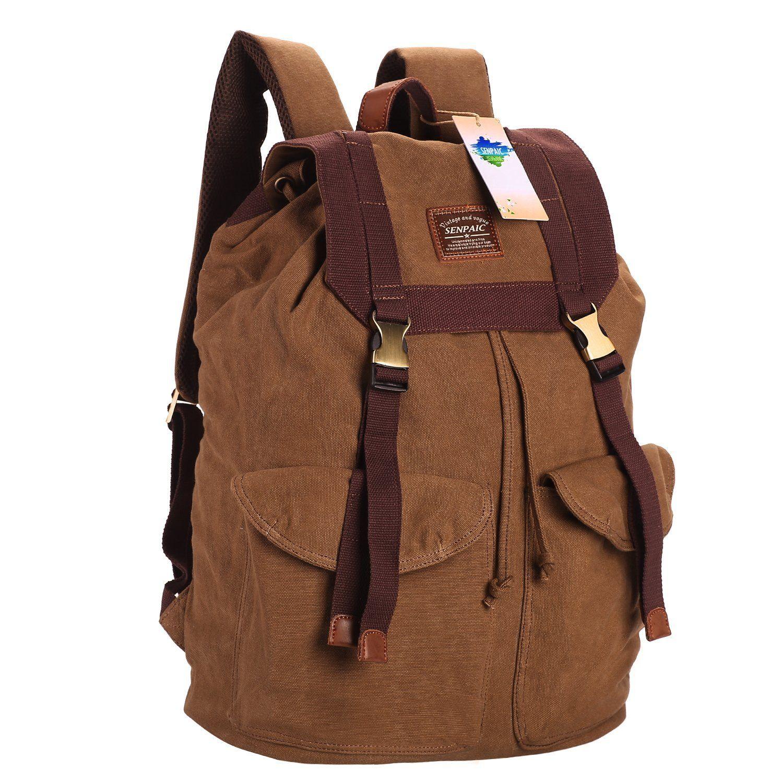 SENPAIC Canvas Backpack Men Casual Vintage Backpack Rucksack ...