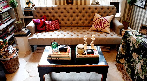 Tori Mellottu0027s West Village Apartment, New York Times. Tufted Leather Sofa  By Classic Sofa