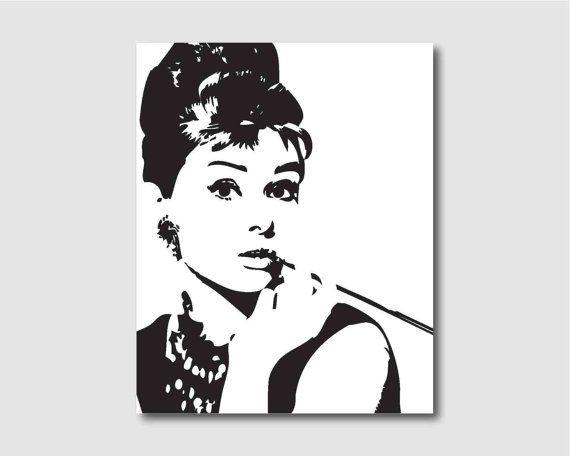Audrey Hepburn Wall Art modern wall art - audrey hepburn in black and white - room decor